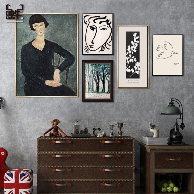 الحديثة الجدار ملصق فني بيكاسو مجردة اللوحة ماتيس الإبداعية الكلاسيكية جدار الصورة الرسم المتحرر و التكعيبية قماش Art Gallery Wall Poster Wall Art Gallery Wall
