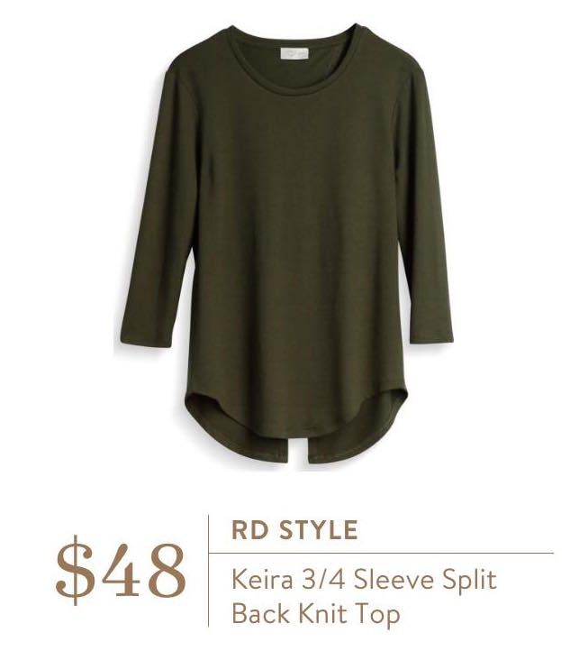 Loooove this color and this top! Stitch Fix Fall RD Style Keira 3/4 Sleeve Split Back Knit Top