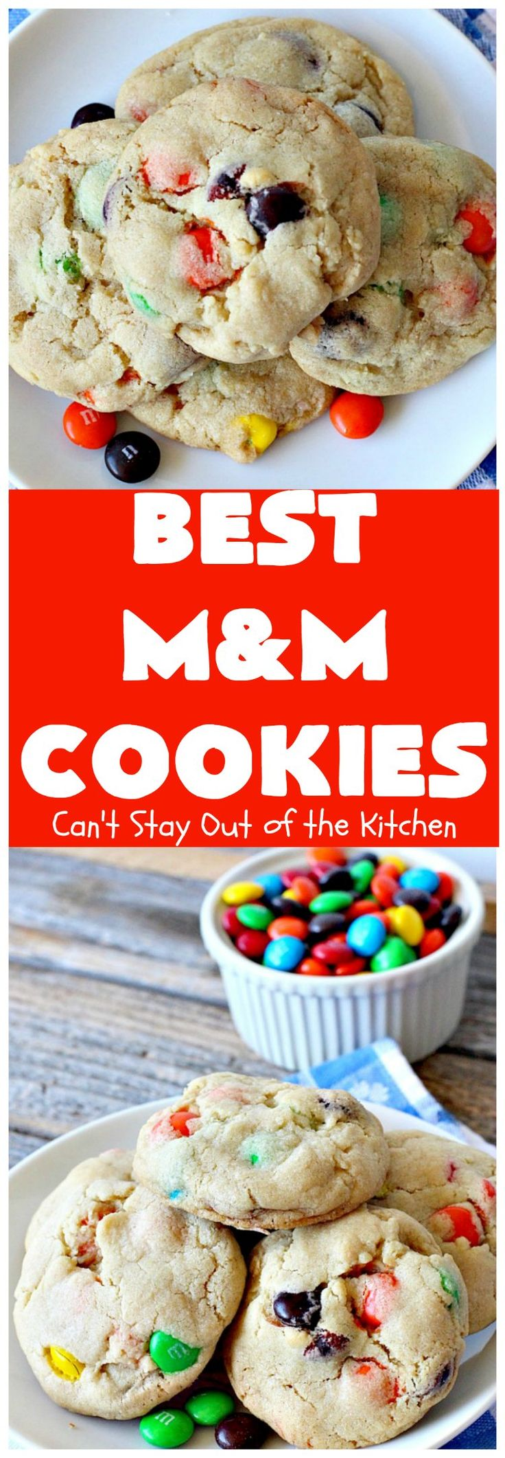 BEST M&M Cookies | These fabulous cookies are divine! They start with copycat Mrs. Fields chocolate chip cookies but substitute #M&Ms. They are so heavenly. #dessert