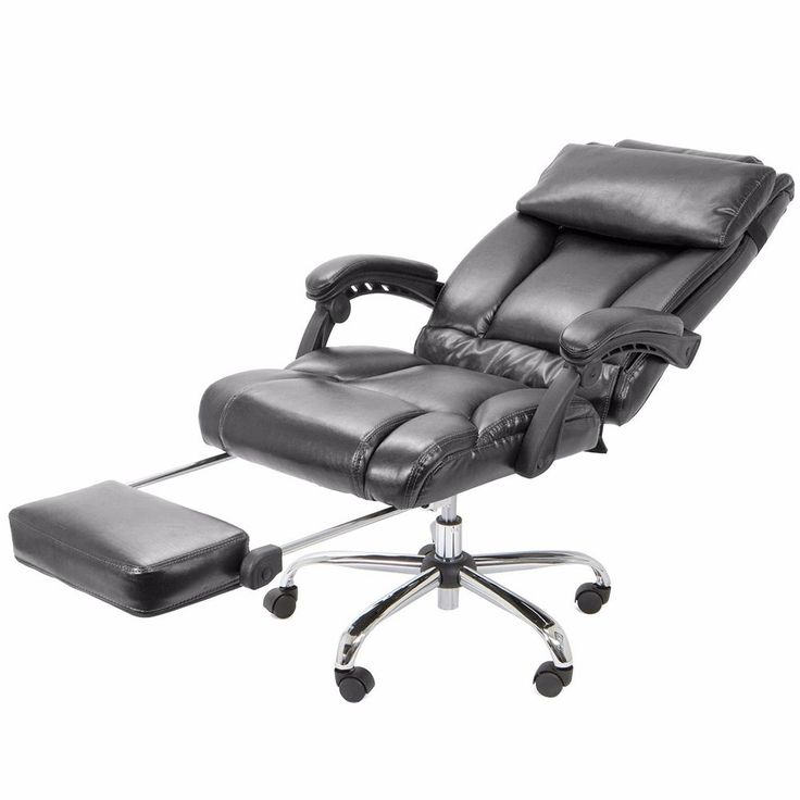 Executive Reclining Office Chair Ergonomic High Back Leather Footrest Armchair #Unbranded