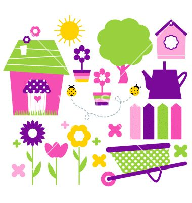 Spring village and garden set isolated on white vector 1282672 - by lordalea on VectorStock®