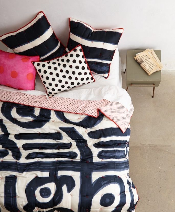 graphic bedding by Paola Navone for Anthropolgie