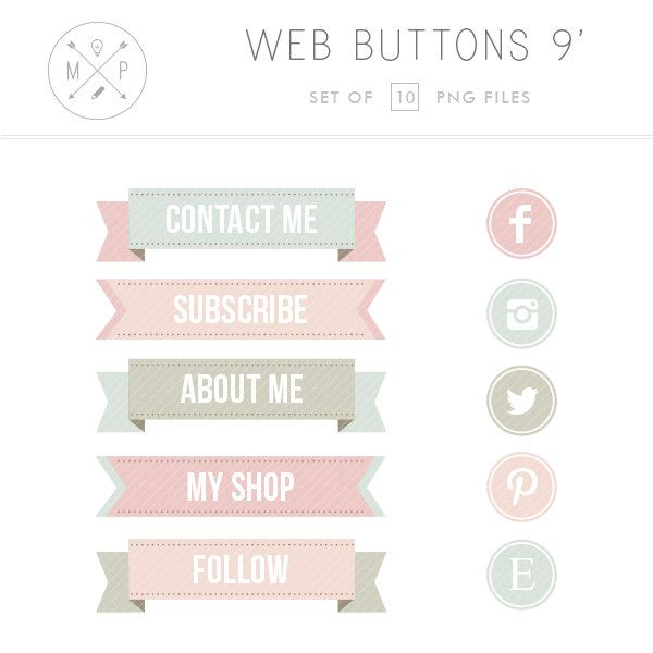 Ribbon Blog Buttons Vintage Social Media by mlekoshiPlayground, $6.00