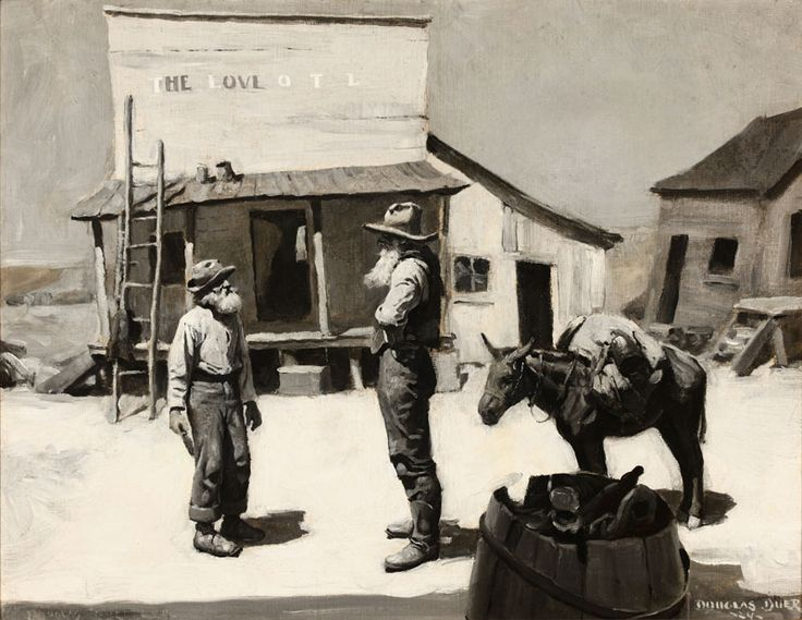 Lot# 126 Douglas Duer (1887-1964 Huntingdon, PA)Two Figures and a Burro Standing in a Western Town Before The Love Hotel, oil on canvas laid to canvas, 18.25'' H x 23.25'' W, est: $2000/3000 *Price Realized: $2,400.00
