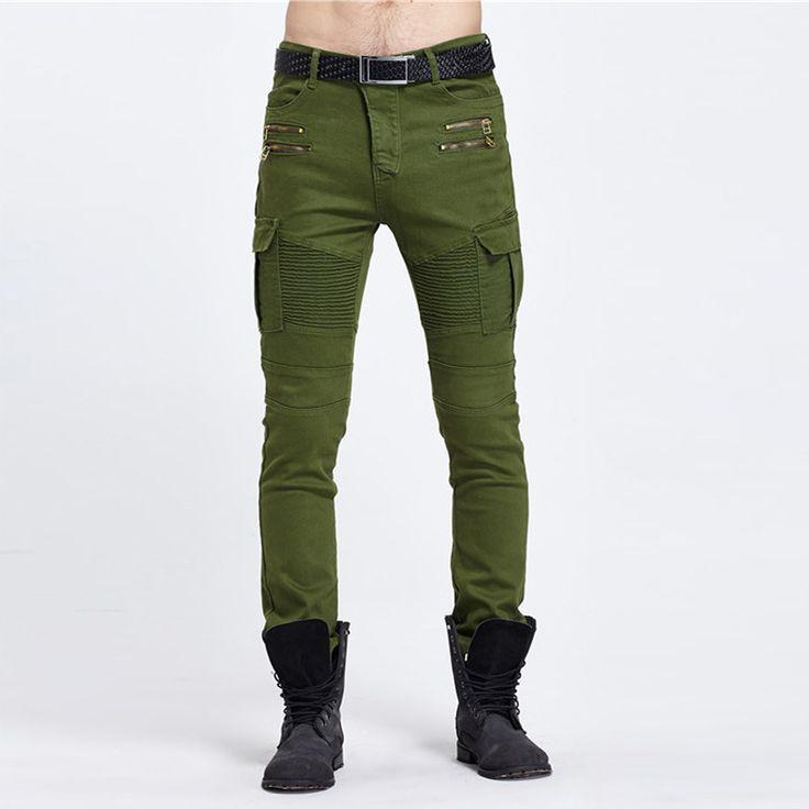Élastique biker jeans élasticité pantalon hommes de  mode plis s'étendent coton pantalons pour hommes de haute  qualité ...