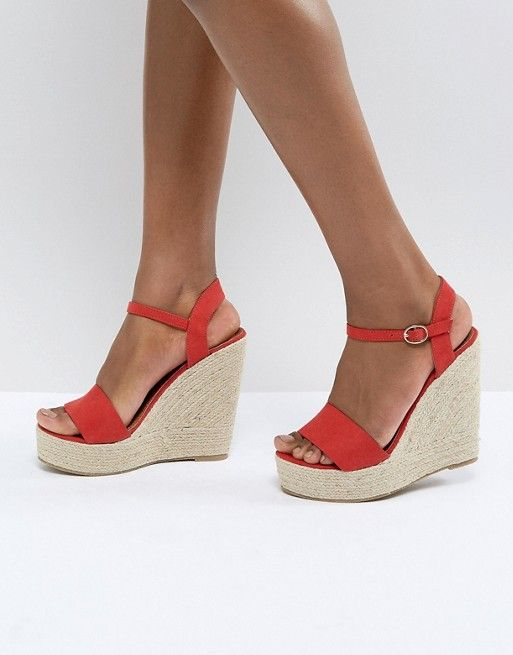 cc4928dcd67 Glamorous Red Espadrille Wedge Sandals in 2019 | Shoes | Red ...