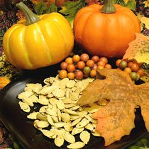 Don't toss those pumpkin seeds! Toast or roast pumpkin seeds in your skillet on top of the stove for a tasty snack. They can can be salted or spiced to suit your palate. The shells are edible and are a good source of fiber. Use this method with other seeds such as acorn squash and butternut squash. Pumpkin seeds are also known as pepitas.