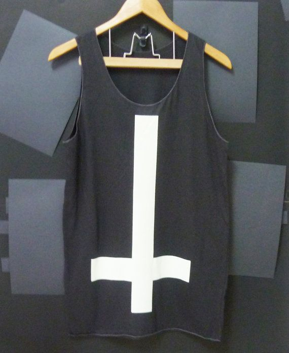 Upside down Cross Black Long Tank top dress Women by CuteClassic, $14.00