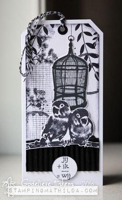 StampingMathilda: Black & White tag using Darkroom Door Love Birds Rubber Stamps.