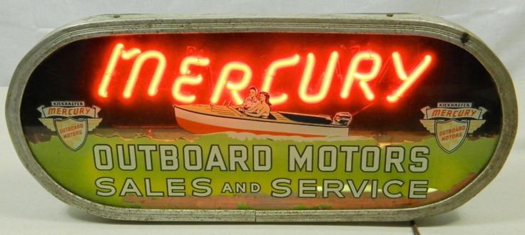 Mercury Outboard Sales and Service Neon Sign