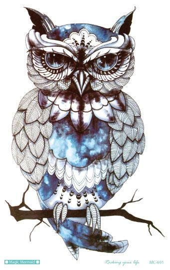 MC691 New 19X12cm Big Temporary Tattoos HD Large Body Art Glass Cool OWL Fashion Flash Taty Tattoo Stickers wholesales