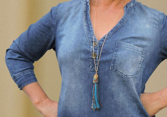 Blue tassel necklace  Boho chic jewelry Tassel pendant by ATLIART