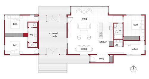 Dogtrot mod green cabin kit floorplan great idea with for Cabin addition floor plans
