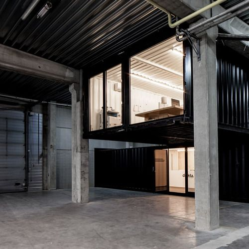 this industrial look // in a home    theblackworkshop:    Five AM's Shipping Container Offices
