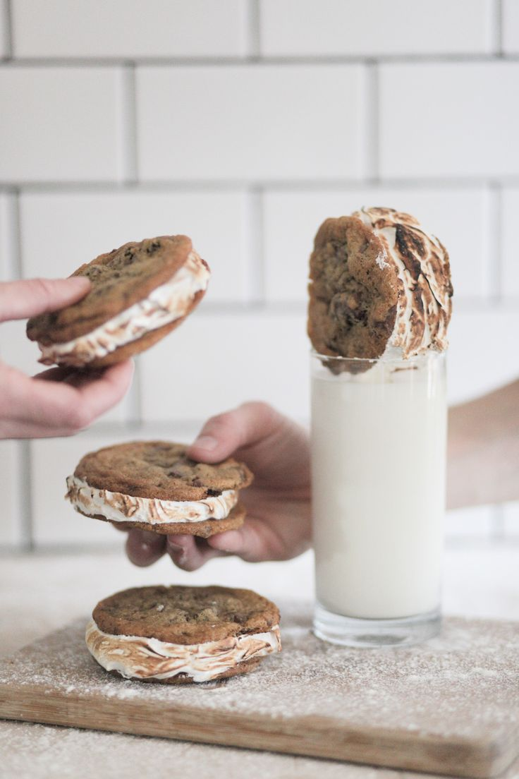 Chocolate Chip S'mores at Chasing Delicious ... THIS cookie recipe with vanilla ice cream for homemade chipwiches.