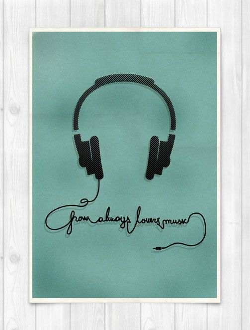 PRINT A3 - Headphone  - From Always lovers Music - Music Concept POSTER. $20.00, via Etsy.