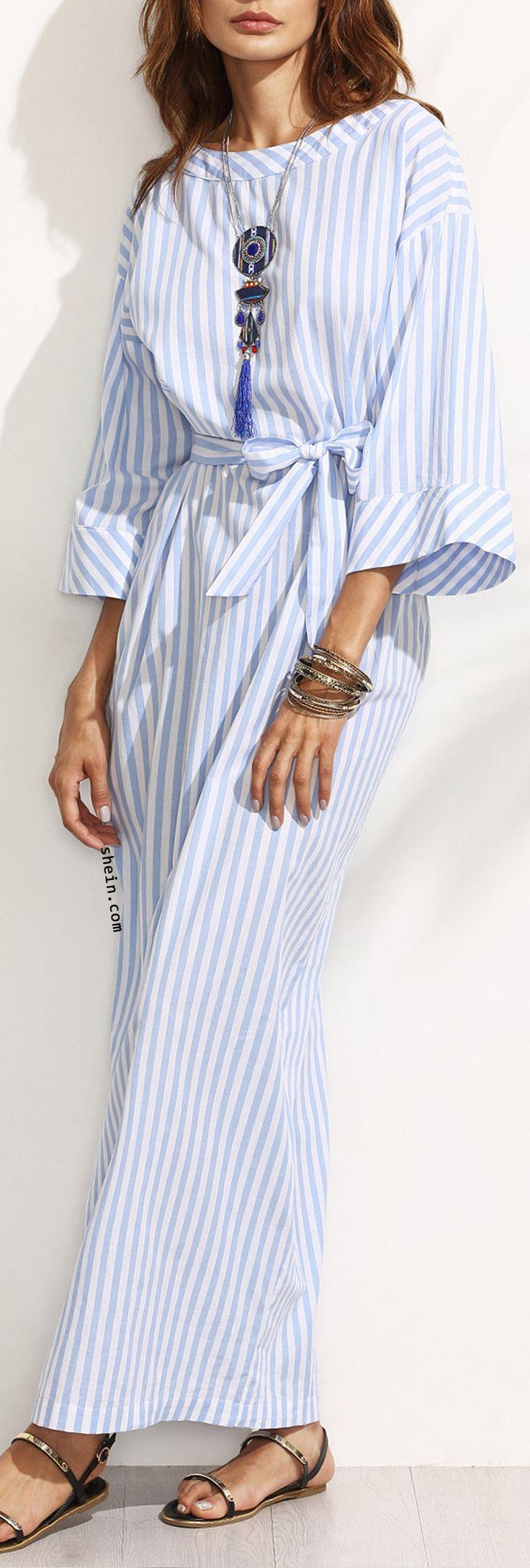 Blue Striped Bow Waist Maxi Dress.