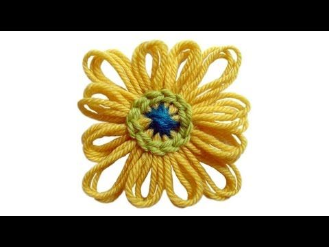 How to make a chain stitch around the center of a bloom loom flower