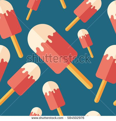 Ice lolly flat icon seamless pattern. #foodpatterns #vectorpattern #patterndesign #seamlesspattern
