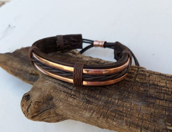 Leather and Copper Bracelet Men's Leather and by ColeTaylorDesigns