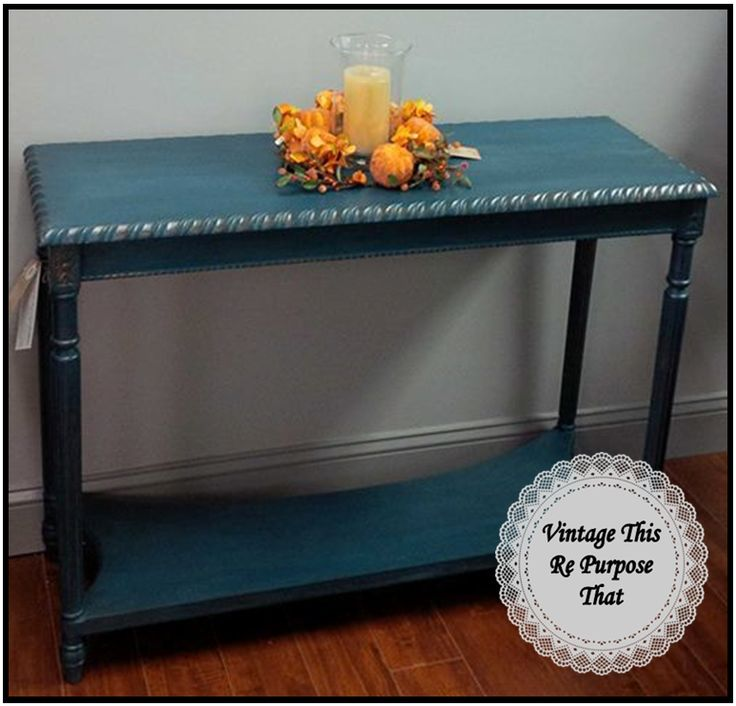 White Leather Sofa Sofa Table with CeCe Caldwell us Paints in Thomasville Teal cececaldwellspaints paintedfurniture Thomasvilleteal
