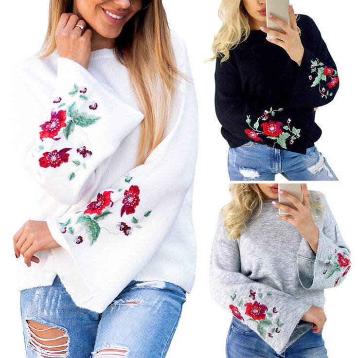 Womens Fashion Floral Long Sleeve Knitted Embroidery Top Pullover Sweater Jumper