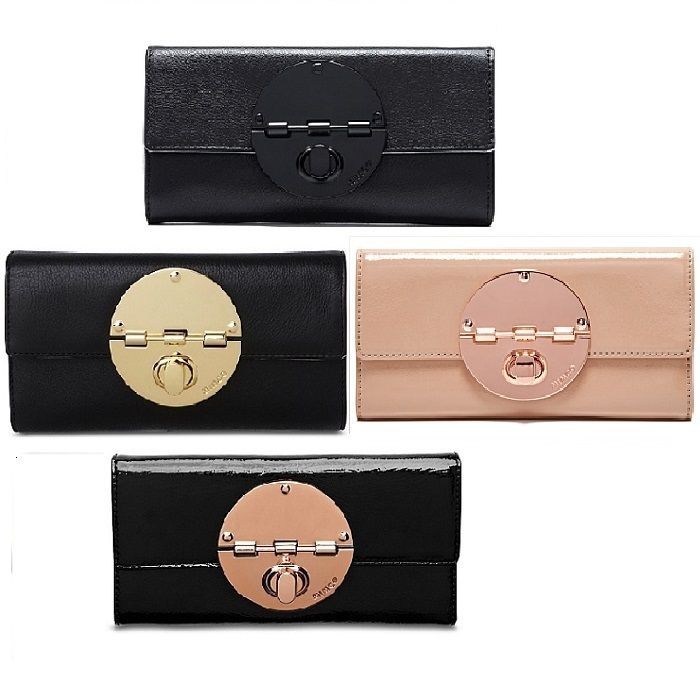 MIMCO Wallet BLACK Leather Large Turnlock Wallet PINK BLACK ROSE GOLD high quality leather wallet fashion PINK MATT PURSE