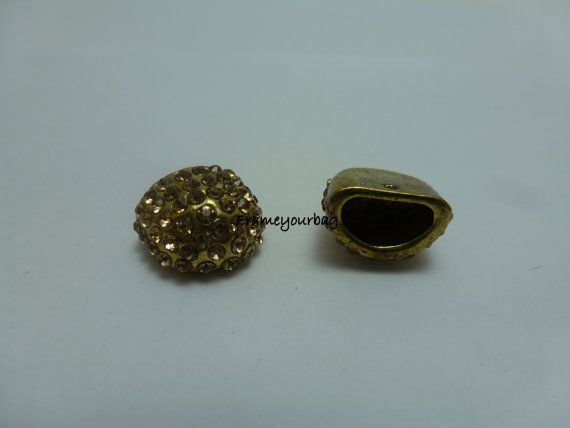 10 OFF 2 End Cap  Antique Gold  with brilliant for by frameyourbag, €3.99
