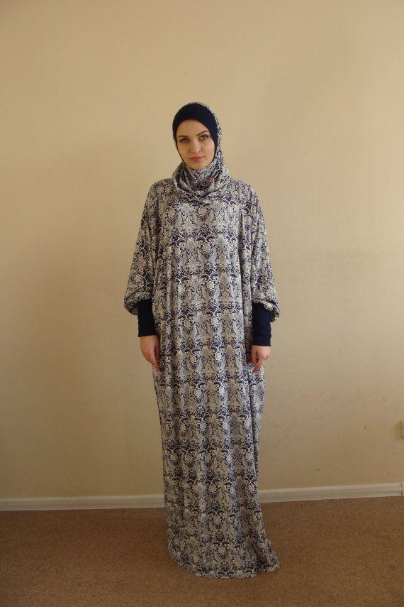Blue and white Maxi Dress Plus Size Prayer by ScarfTurbanHijab