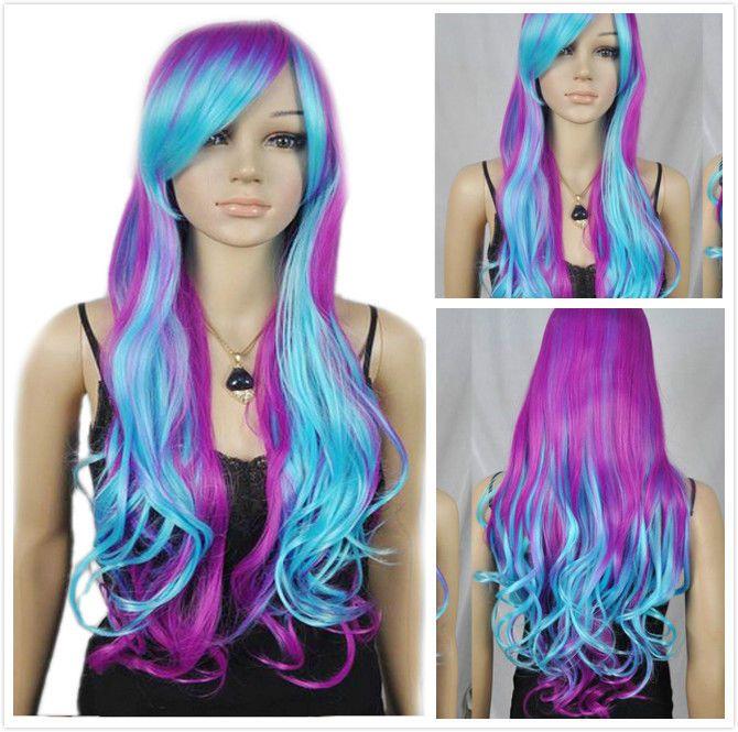 Women Blue Purple Mixed Long Curly Wavy Heat Resistant