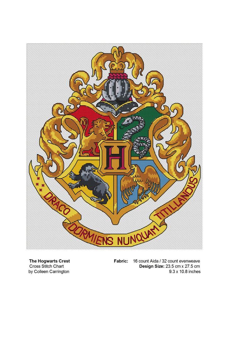 The World In Stitches — Free Hogwarts Crest Cross Stitch Chart PDF