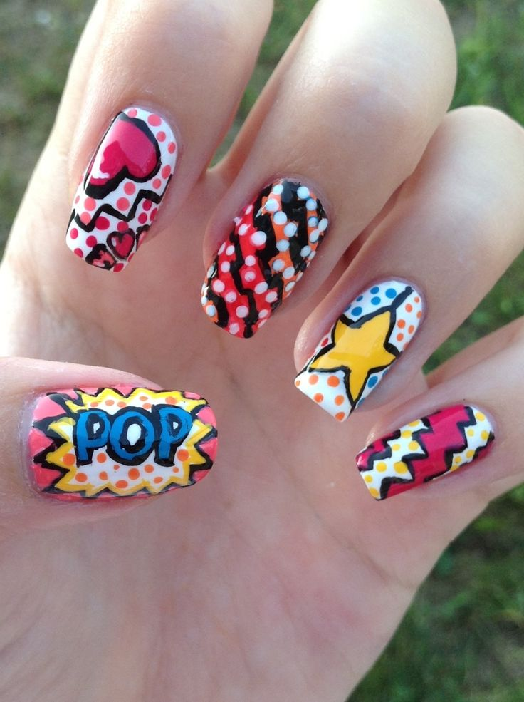 31 best pop art nails images on pinterest beauty challenges and bold pop art nails prinsesfo Choice Image