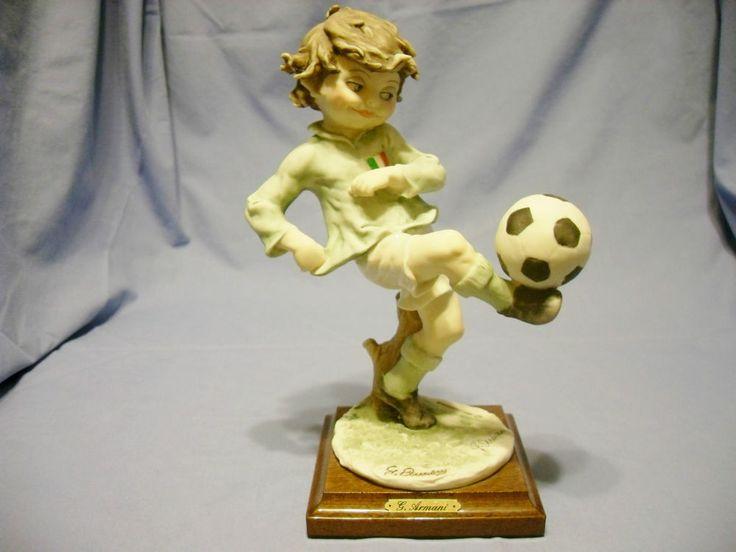 1982 Soccer Boy Giuseppe Armani-Imported From Italy-Mint-Boy Kicking Soccer Ball