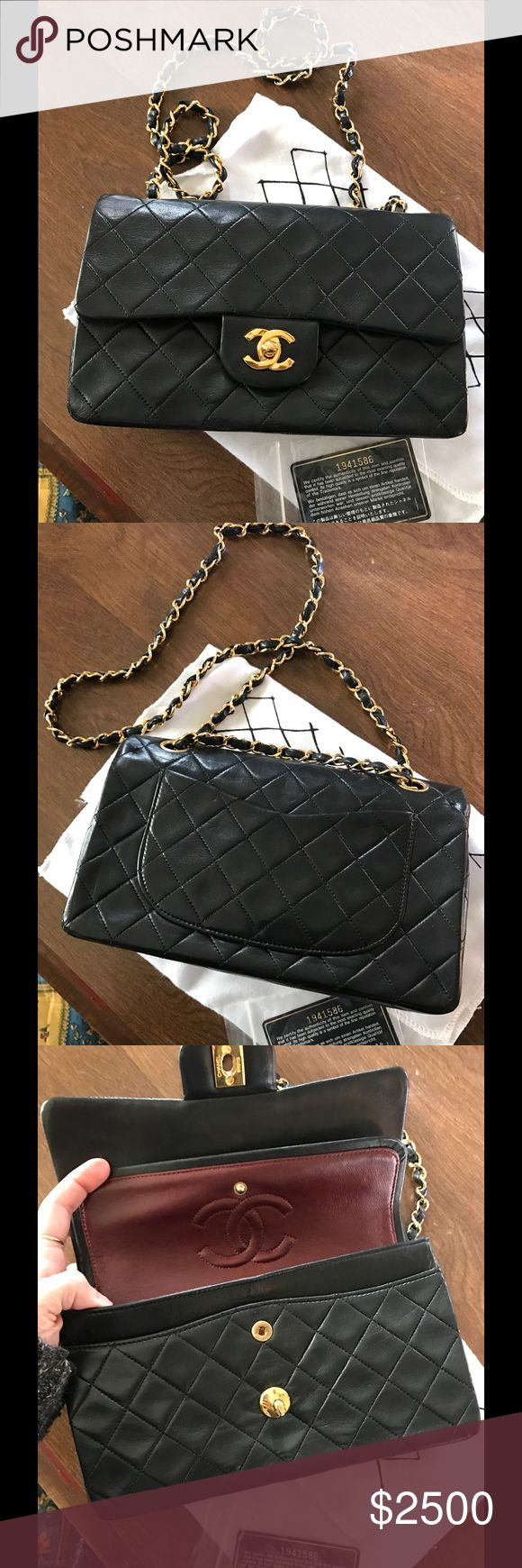 100% Authentic Vintage Chanel double flap bag Very nice used soft lambskin leather vintage Chanel double flap bag, has some scratches in the inner lining from normal use. Small size only comes with Authentic card. CHANEL Bags Shoulder Bags