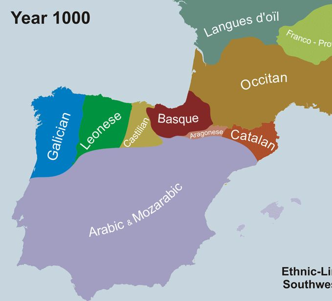 Map showing the historical retreat and expansion of Portuguese (Galician-Portuguese) within the context of its linguistic neighbours between the year 1000 and 2000.