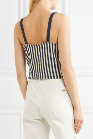 Madewell - Chloe Striped Cotton-blend Wrap Top - Navy