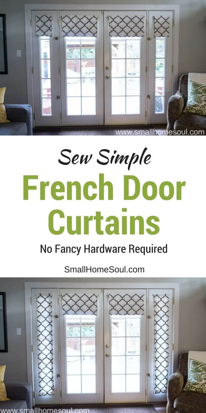 Let me show you how to make these simple french door curtains for  budget friendly window coverings. No fancy hardware required, I promise.  #sewingtutorial #curtains #frenchdoor