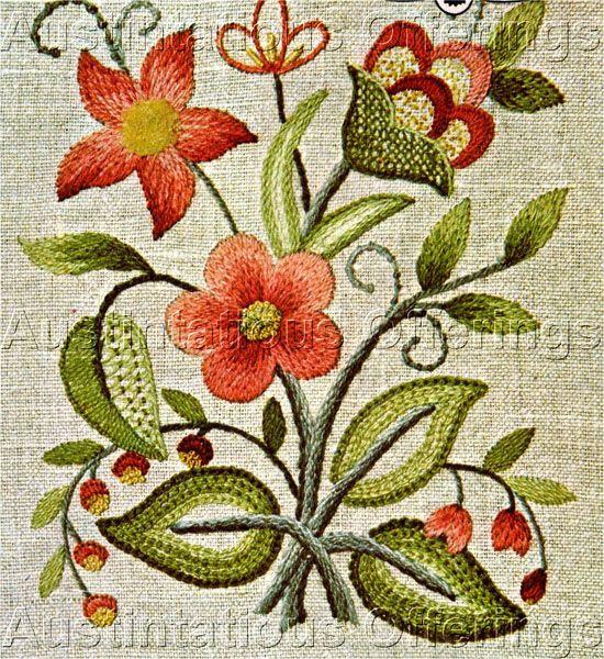 Williams Beginner Crewel Embroidery Sampler Kit Lowell Floral