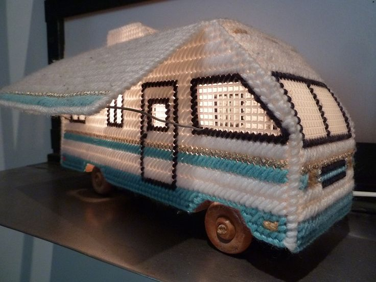Plastic canvas RV lamp. Because not everything that makes us happy can be in good taste.