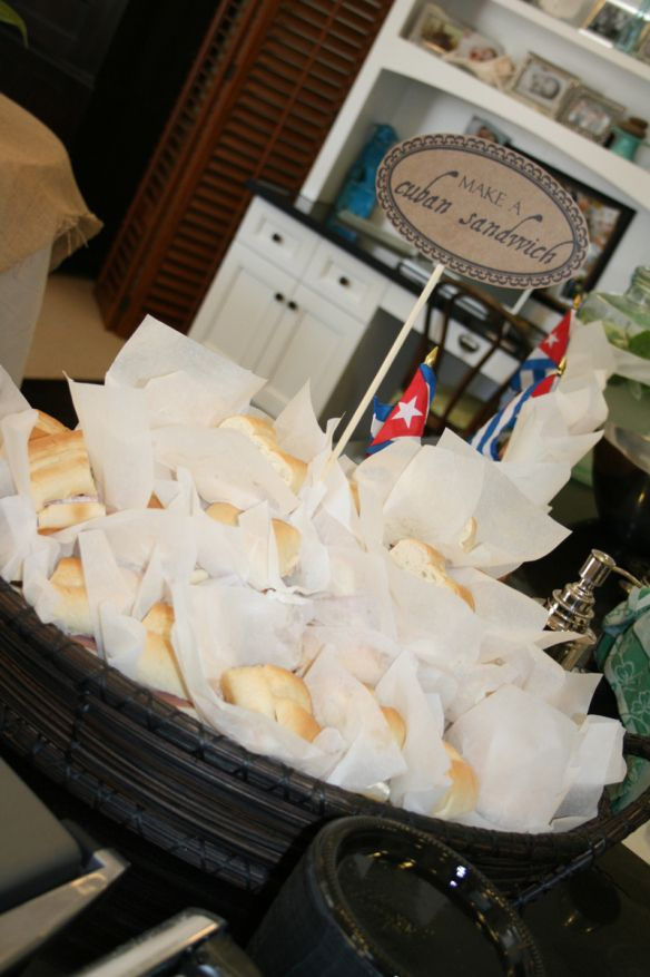great idea - a bucket full of sandwiches - wrapped in waxed paper