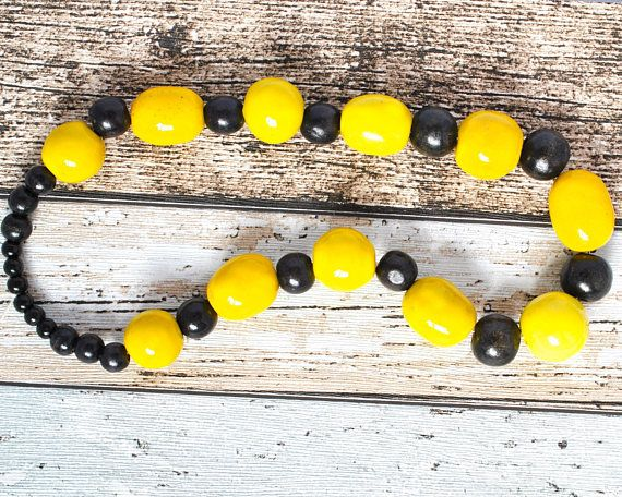 Yellow Bead Kazuri Necklace - Black and Yellow Statement Necklace - Kazuri Bead Yellow Necklace - Bold Necklace - Black Necklace - Bumblebee thecoastaldesert The Coastal Desert handmade jewellery jewelry