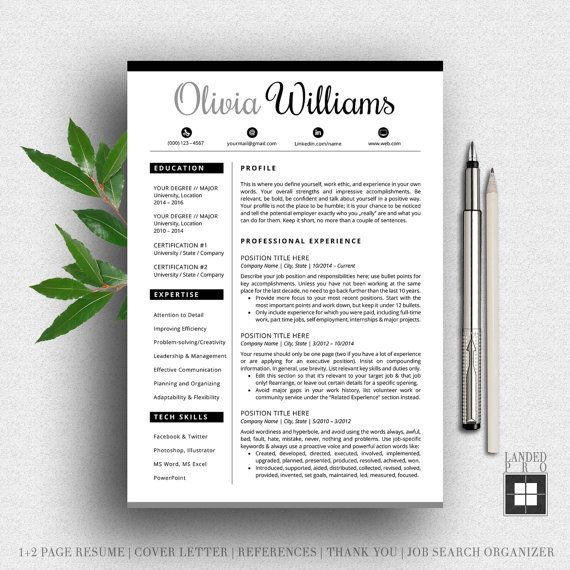 Resume Template & Cover Letter Template | Professional Modern Creative Resume Template | MS Word for Mac + PC | US Letter + A4 | 4 pk |Cv aX