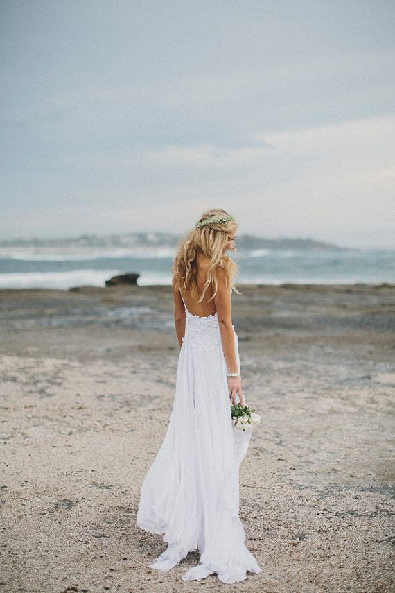 Beach wedding dress from etsy is perfect