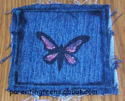 Stamped Blue Jean Coaster Crafts for Teens