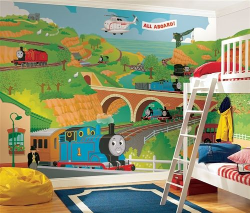 All Aboard With This Gigantic Thomas The Tank Engine And His Friends Xl Wall Mural Fun Is Perfect For Nurseries Bedrooms