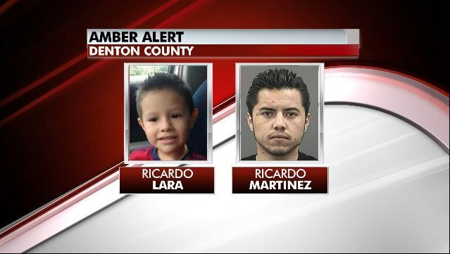 """DENTON, Texas police are looking for 4-yr-old Ricardo Alekzander Lara. He was reported missing Saturday after his mother was found dead. Lara could be in immediate danger and is with his father, 23-yr-old Ricardo Lara Martinez. Lara is 3' tall and 55 lbs, with brown hair and eyes. Martinez is 5' 5"""" tall and 150 lbs with brown hair and eyes. He is believed to be on-foot. If you have information regarding the whereabouts of Martinez or Lara, call 911 or the Denton Police Dept at 940-349-7919."""