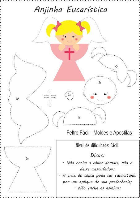 lembrancinha para primeira eucaristia/comunhão em feltro; Angel Felt