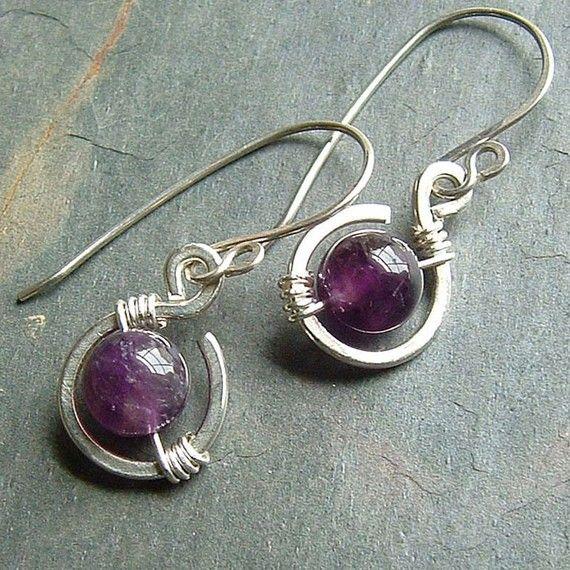 Amethyst Earrings Silver Wire Wrap dangle coils sterling silver drop birthstone jewelry