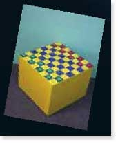 Paint a simple cardboard box into a fun checkerboard game table.