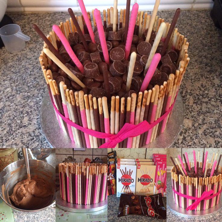 #waytoomuchchocolate #mikado #pocky #mikadocake #pockycake #lucky #luckycake #rolo #revels #chocolate    Girly chocolate overload cake